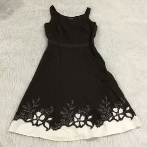 Ann Taylor brown embroidered dress